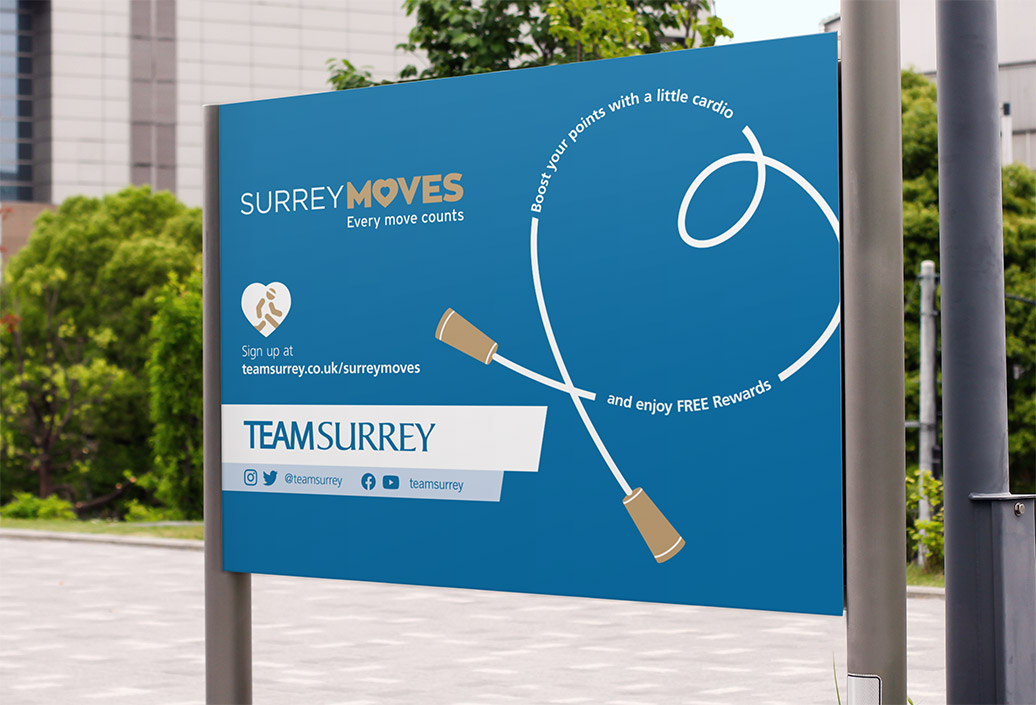 Surrey Moves Freshers Week skipping rope signboard