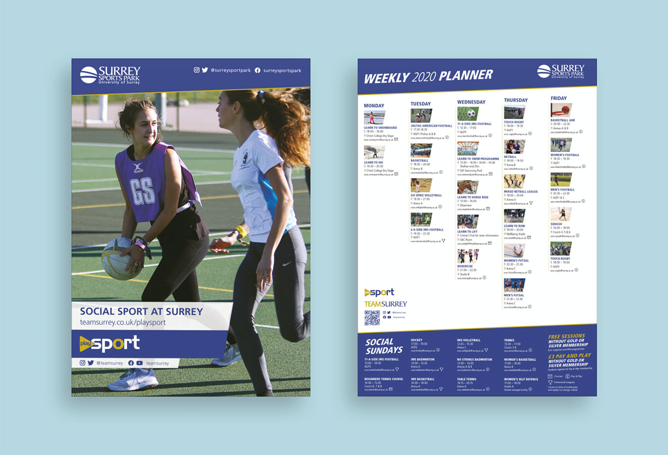 PlaySport planner front and back views