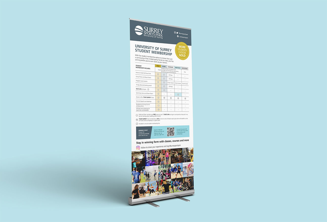 Student Membership options pull up banner