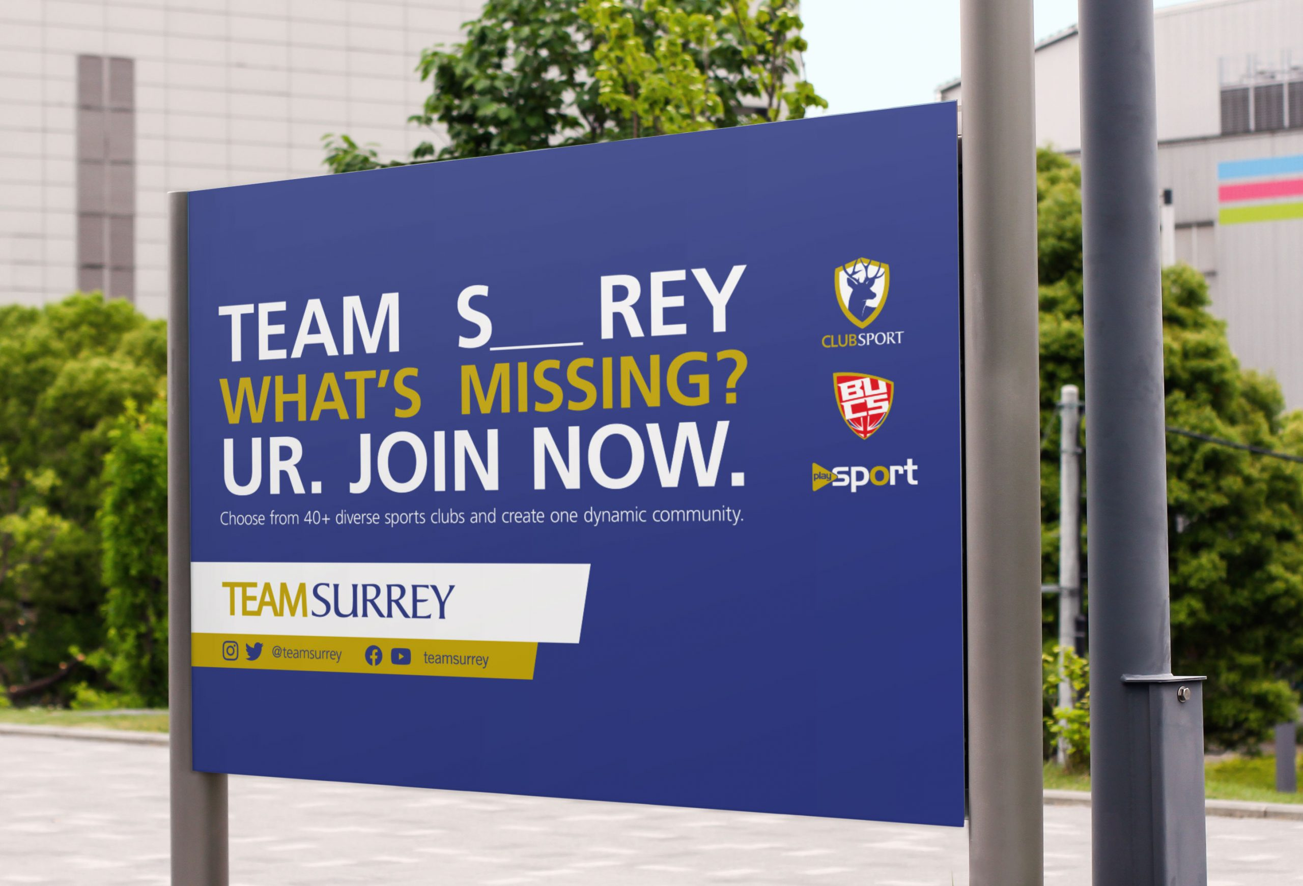Team Surrey signboard reminding students that they should join