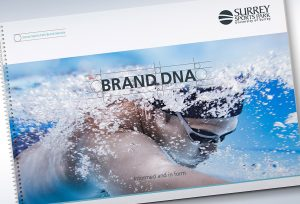 Surrey Sports Park brand guidelines booklet with swimmer on front cover