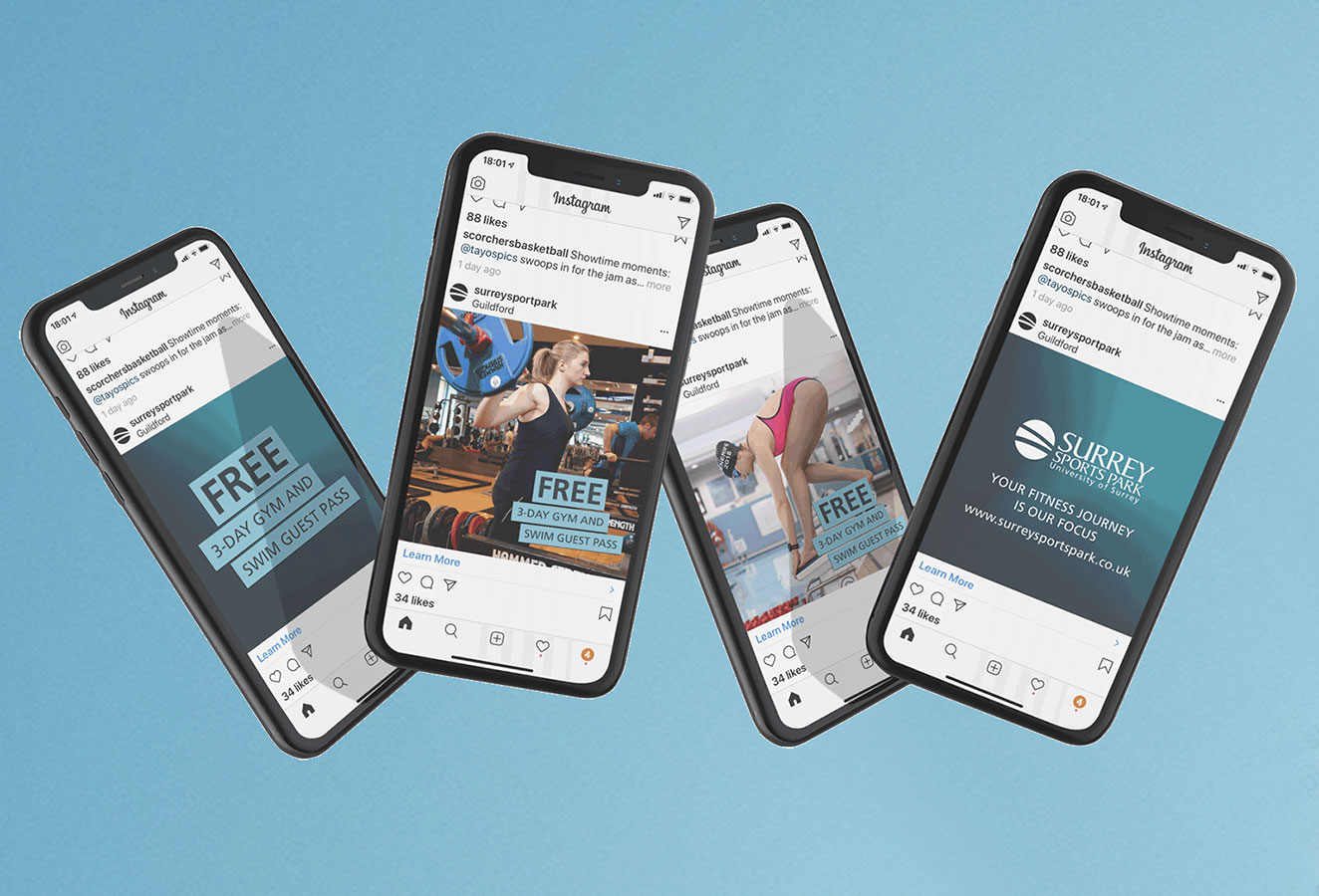 Instagram display adverts for three day gym and swim promotion